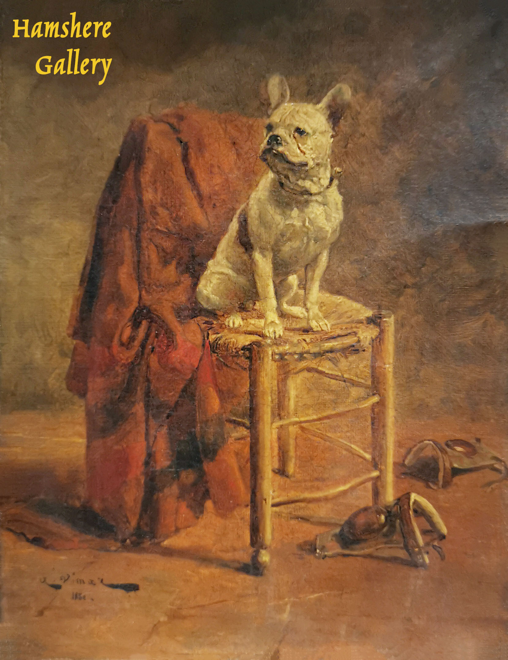 Click to see full size: French Bulldog oil by Nicolas Stanislas-Auguste Vimar (French, 1851-1916)