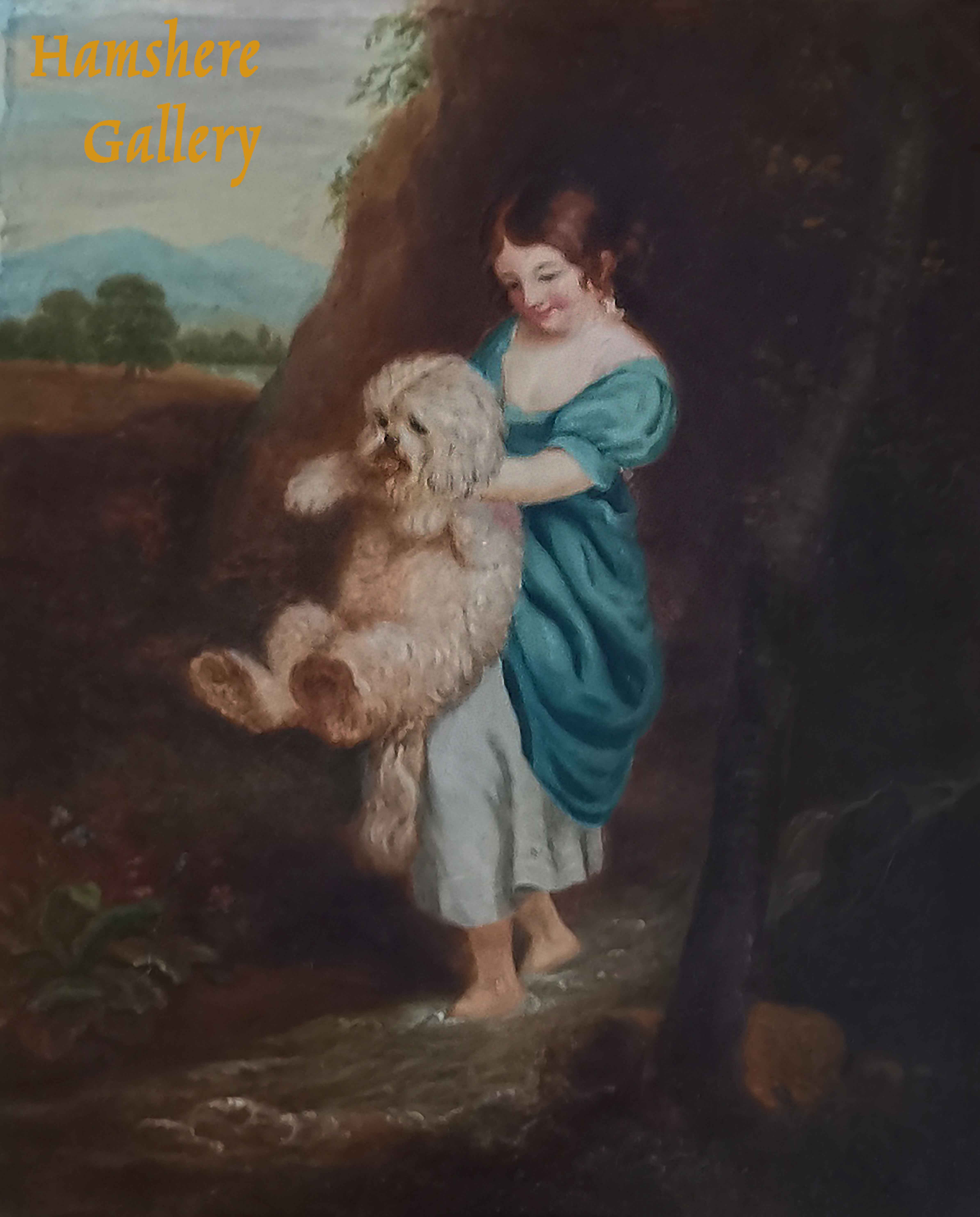 Click to see full size: An oil of girl holding Bichon by Miss H Reinagle (English, fl1826-1862) after Joshua Reynolds (English, 1723-1792)