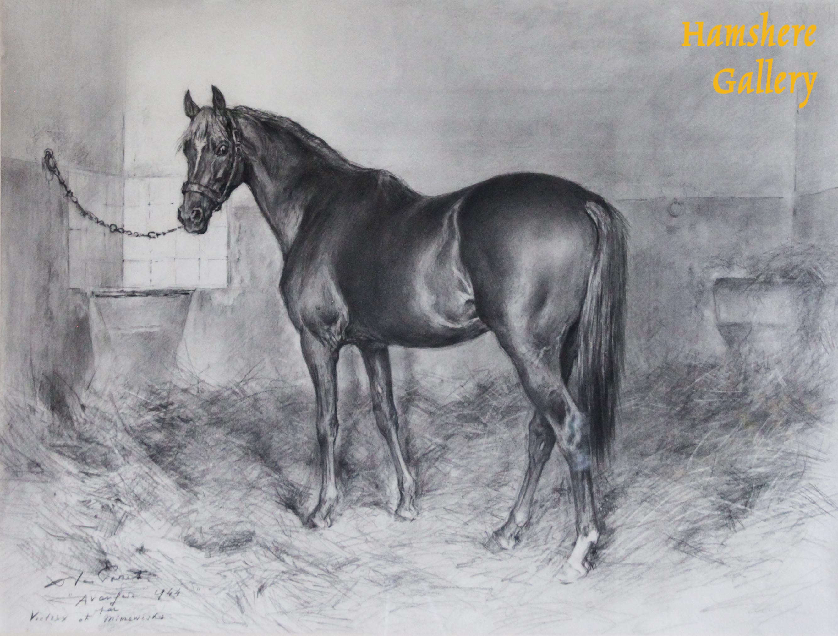 Click to see full size: Equestrian / horse pencil drawing by Xavier de Poret (French, 1894 - 1975)- Equestrian / horse pencil drawing by Xavier de Poret (French, 1894 - 1975)