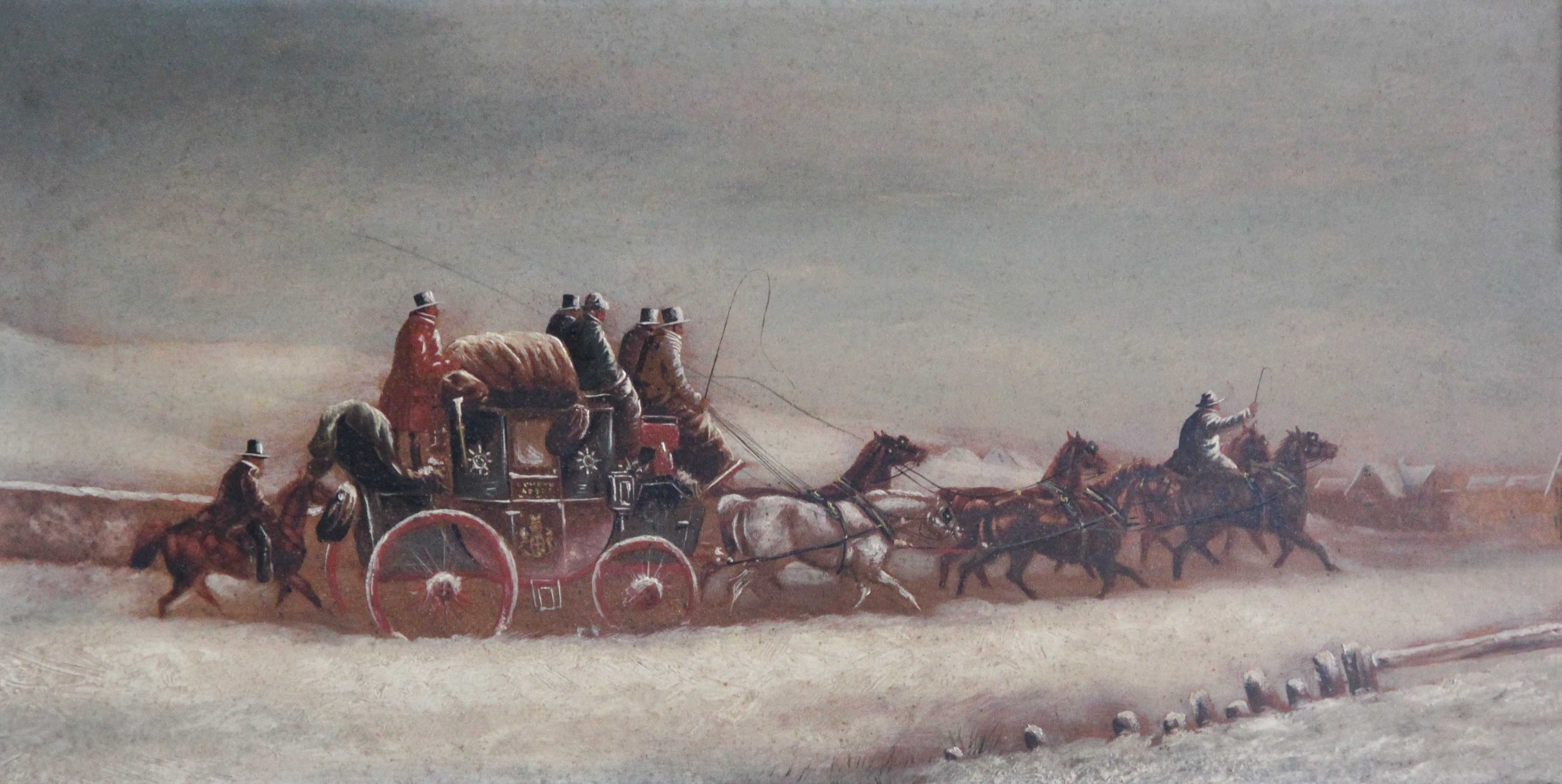 Click to see full size: Mid 19th snow scene of the London to Leeds Royal Mail carriage / coaching / four-in- hand oil by Charles Cooper Henderson (English, 1803-1877)- Mid 19th snow scene of the London to Leeds Royal Mail carriage / coaching / four-in- hand oil by Charles Cooper Henderson (English, 1803-1877)