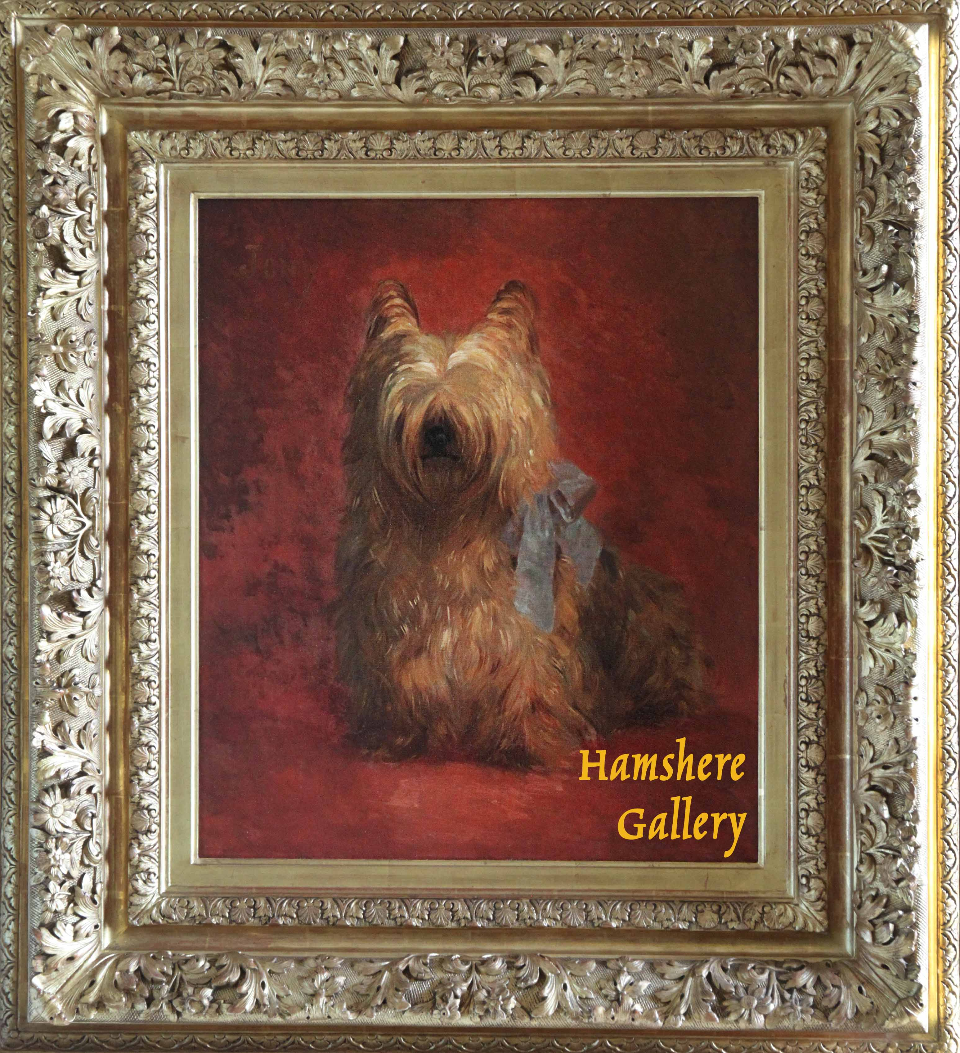 """Click to see full size: An oil of """"Jony""""a Yorkshire Terrier by Charles Cesar Ferdinand de Condamy (French, 1855-1913)- An oil of """"Jony""""a Yorkshire Terrier by Charles Cesar Ferdinand de Condamy (French, 1855-1913)"""