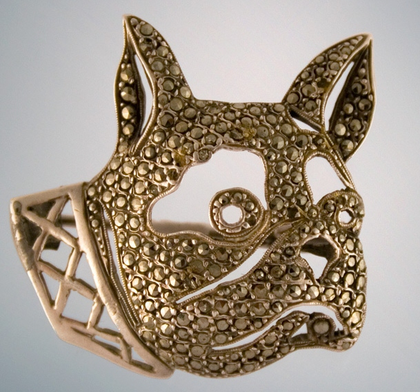 Click to see full size: Early 20th century silver set marcasite Boston Terrier Brooch