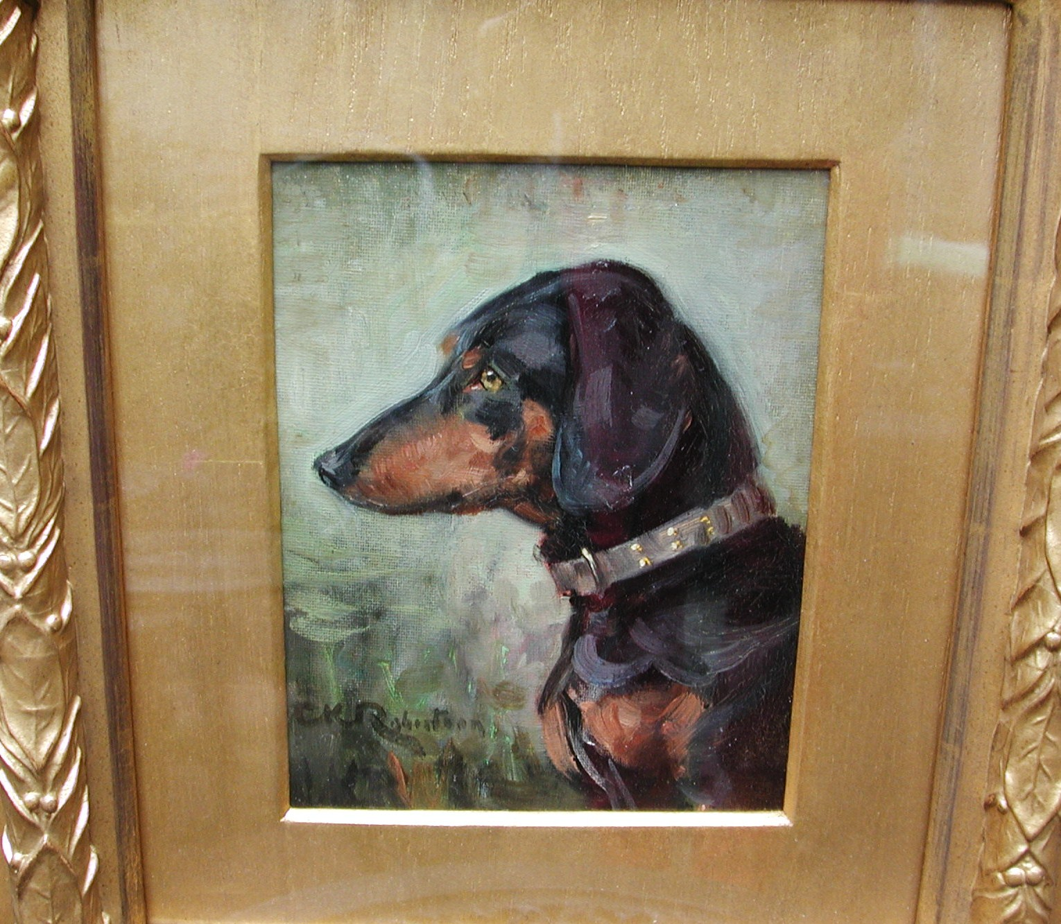 Click to see full size: Dachshund oil painting- Dachshund Oil painting circa 1900