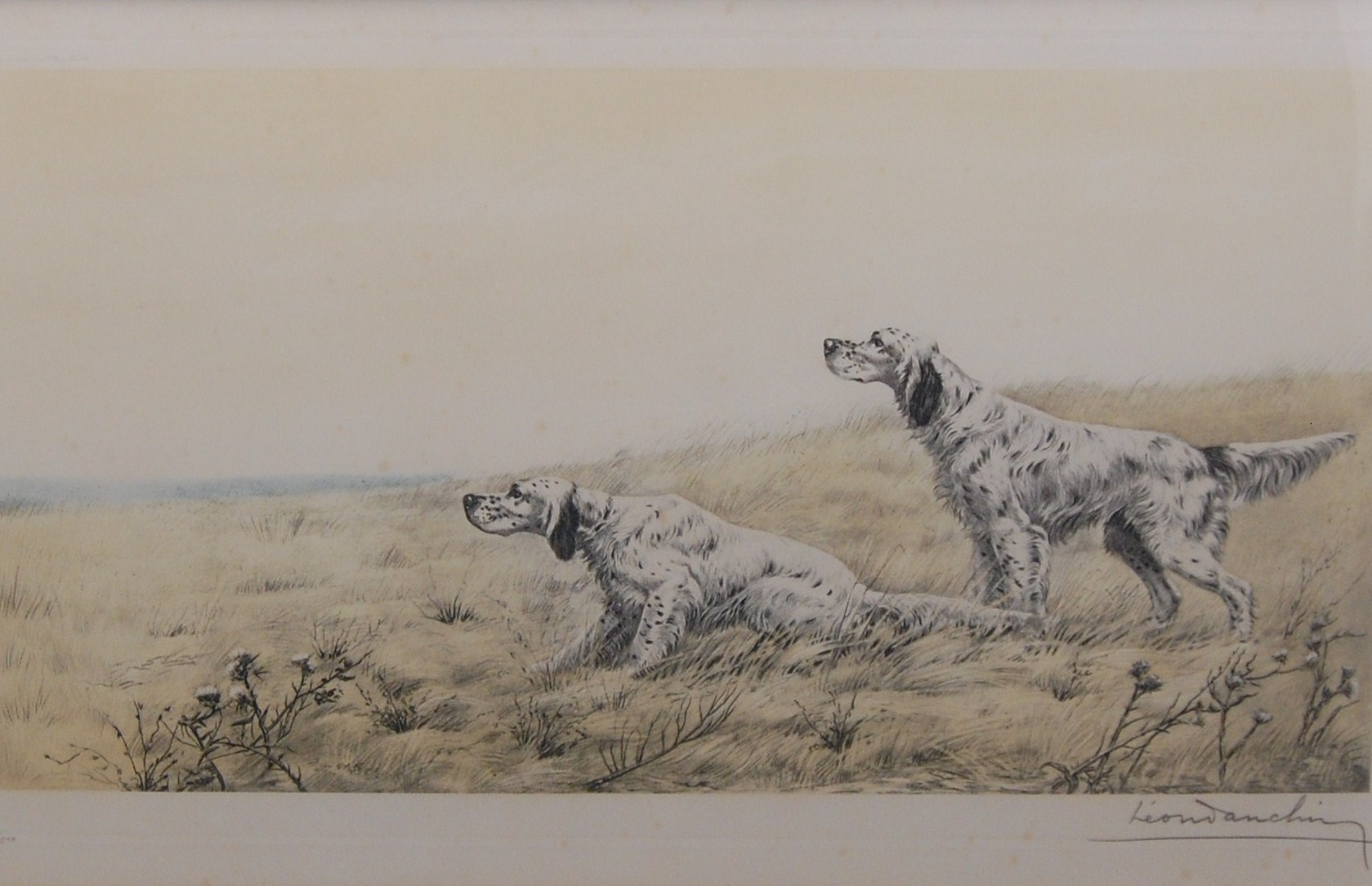 Click to see full size: English Setters by Leon Danchin (French, 1887-1939)