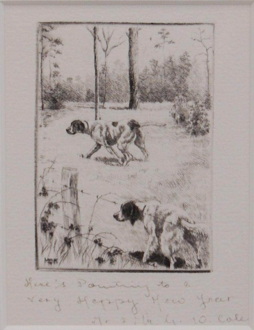 Click to see full size: Pointer and Setter working by Marguerite Kirmse (1885-1954)- Pointer and Setter working by Marguerite Kirmse (1885-1954)